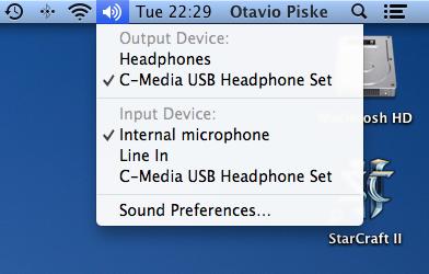 Opções de som